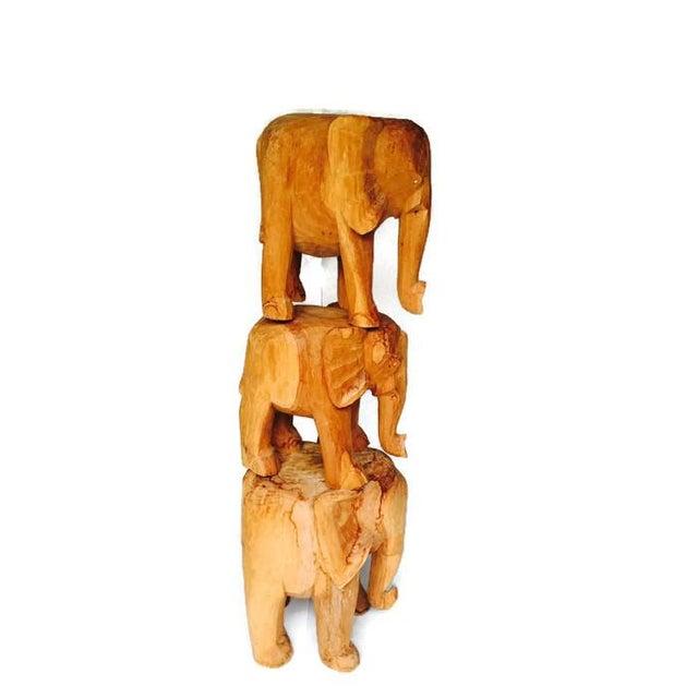 Vintage Solid Wood Carved Elephant Stands - 3 - Image 5 of 7