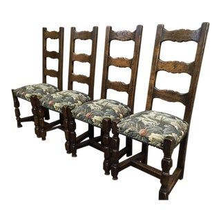Vintage Oak High Back French Hunting Dining Chairs, Floral Tapestry - Set of 6