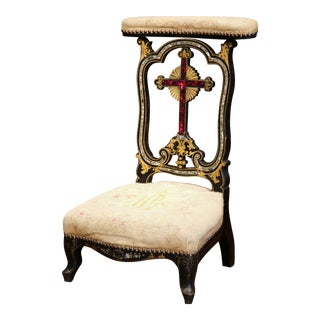 19th Century French Napoleon III Painted Prayer Bench with Mother-of-Pearl