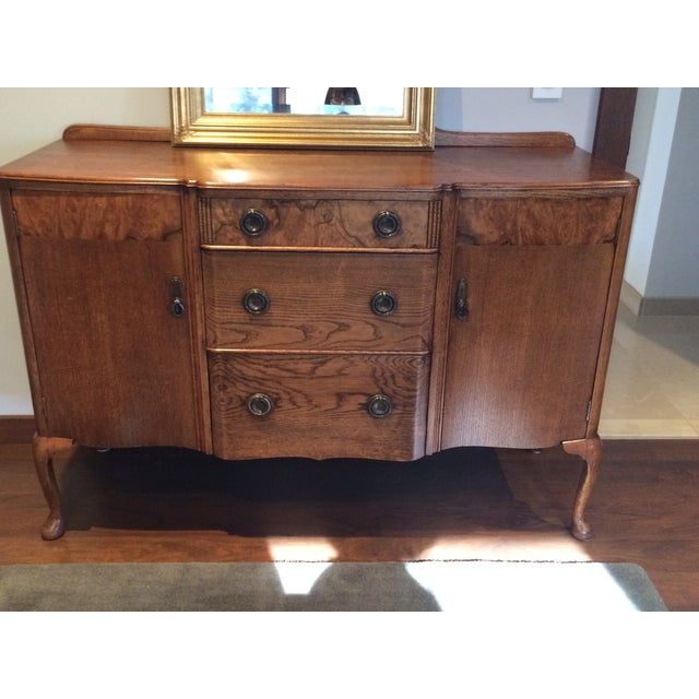 Vintage Oak & Burl Wood Sideboard - Image 2 of 6