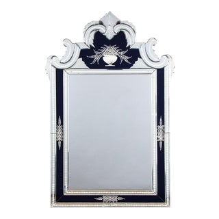 1960s Venetian Glass Mirror with Black Accents