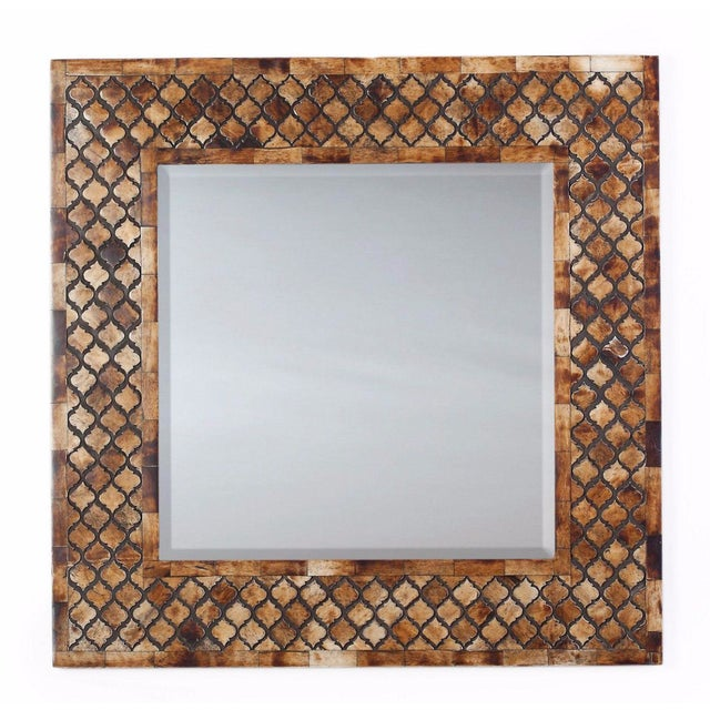 Moroccan Lattice Trellis Bone & Wood Wall Mirror - Image 1 of 4