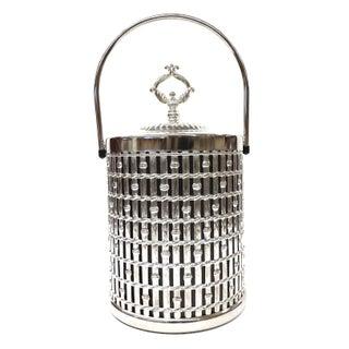 Mid Century Modern Large Stainless Bamboo Design Ice Bucket