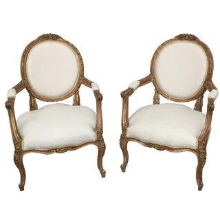 Vintage Louis XVI Armchairs - Pair