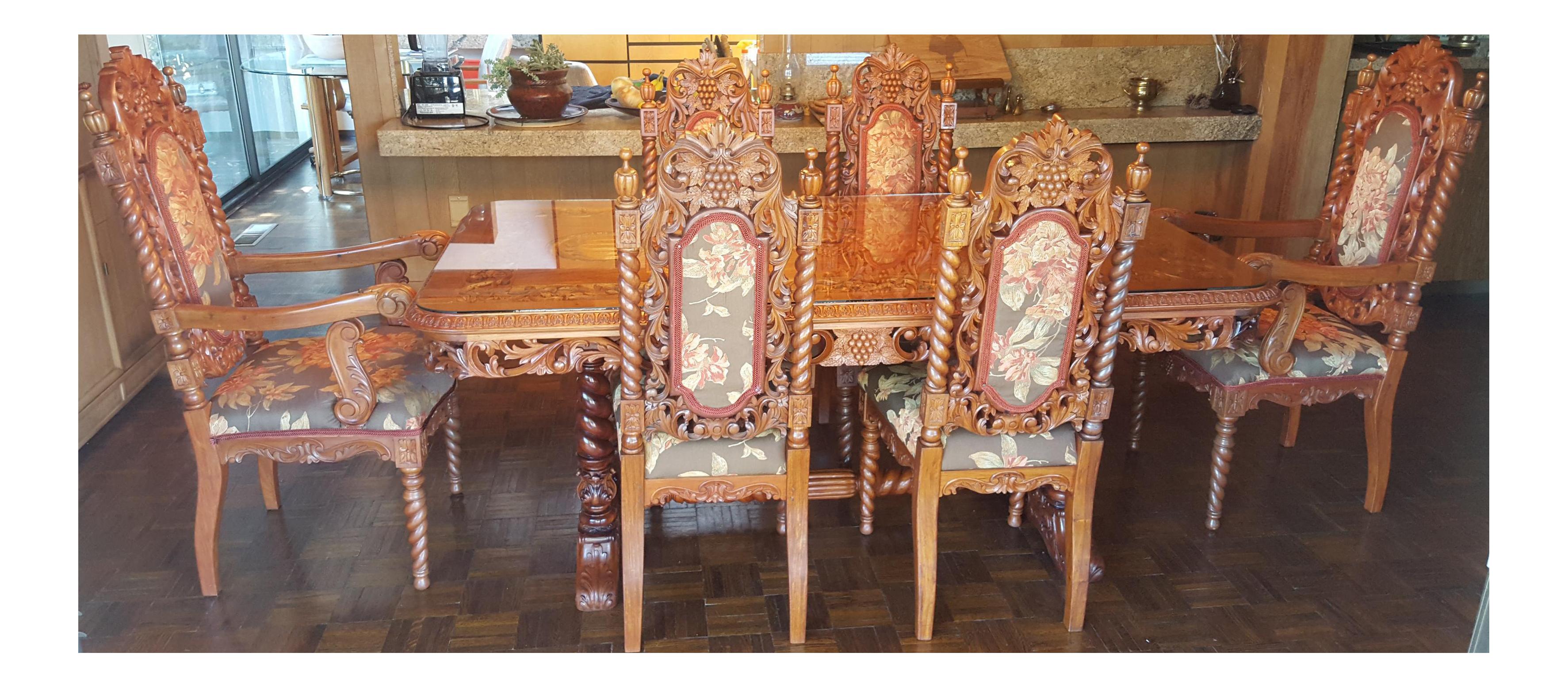 Rare Antique Narra Wood Dining Set