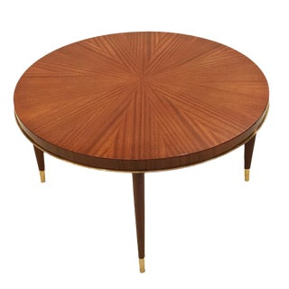Round Cocktail Table in African Mahogany and Bronze by Josef DeCoene, Belgium circa 1948