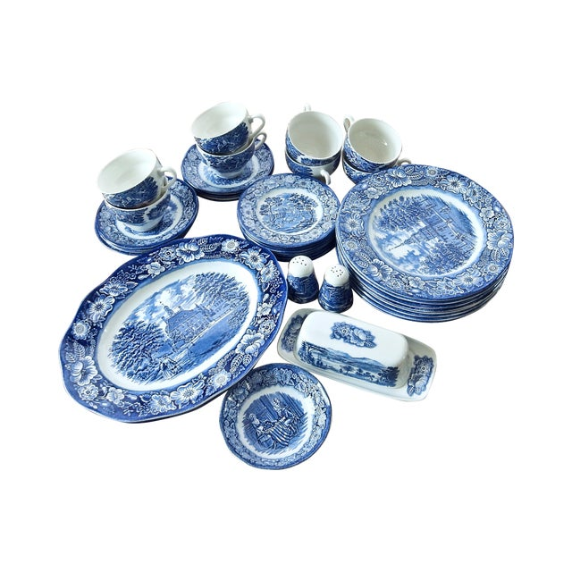 Staffordshire Dinnerware Liberty Blue China Set - Image 1 of 6