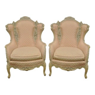 Vintage Figural French Hollywood Regency Wingback Chairs - A Pair