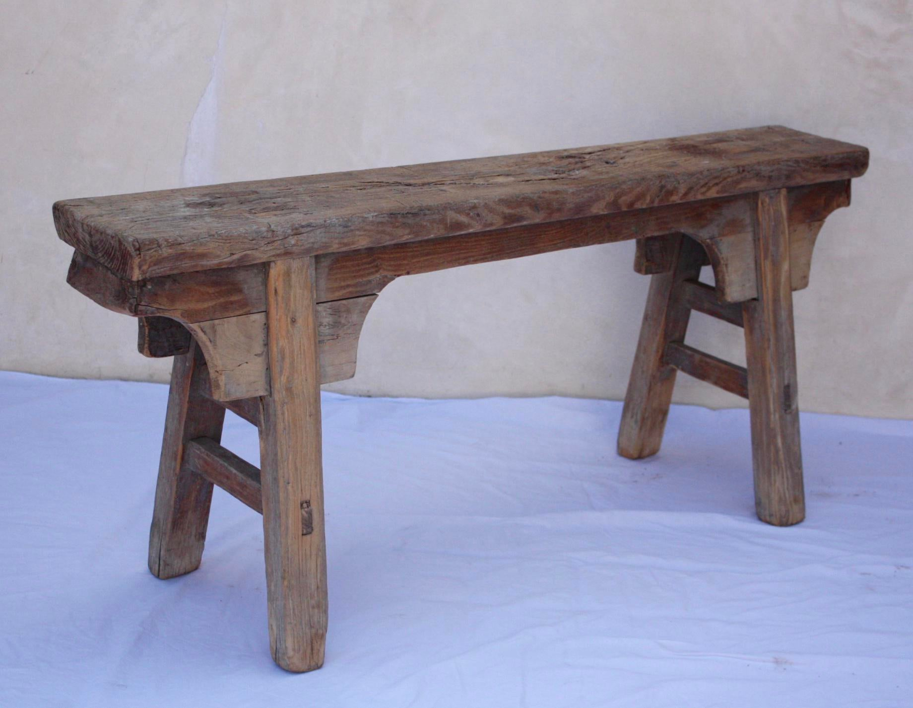 Antique Shandong Elm Wood Bench   Image 4 Of 6