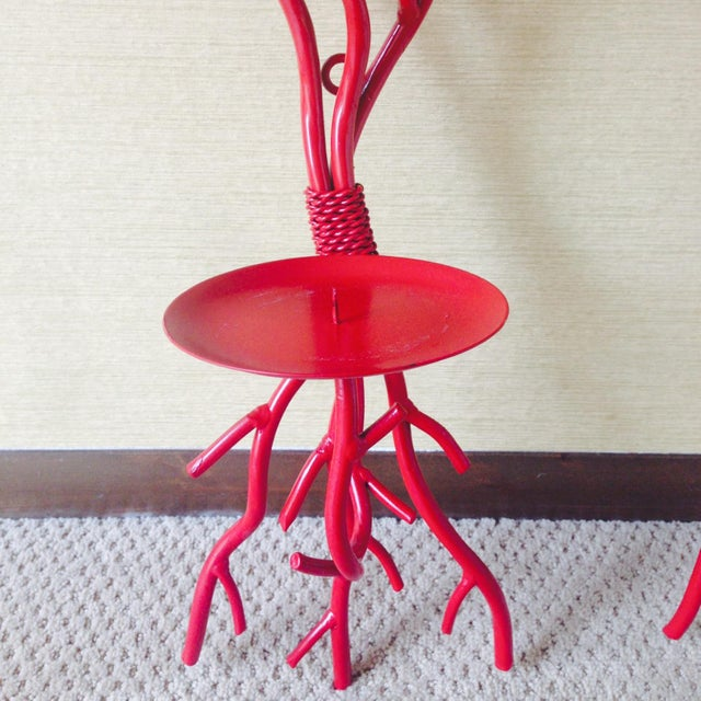 Image of Tall Sculptural Red Coral Candle Sconces - A Pair