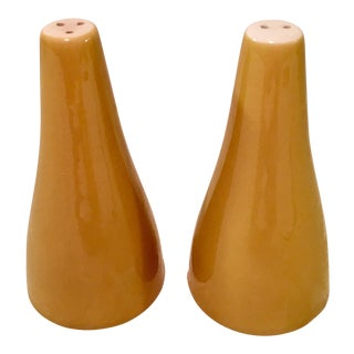 Mid-Century Modern Mustard Colored Salt & Pepper Shakers- A Pair