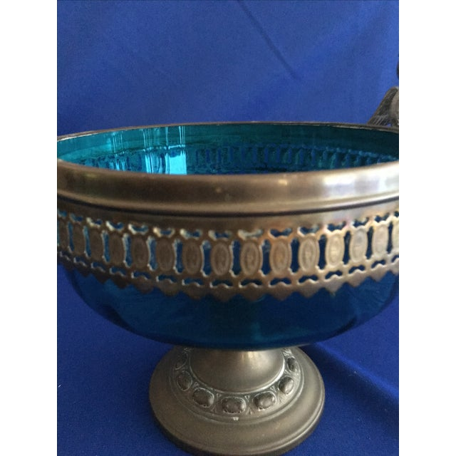 Blue Glass Compote with Dragon Handles - Image 7 of 10