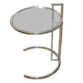 "Eileen Gray Style Modern Chrome Side Table 20"" Dia"
