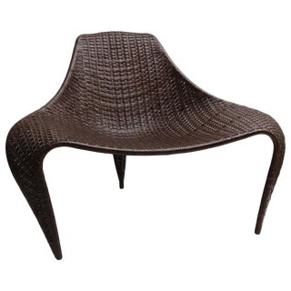 Woven Leather Biomorphic Form Chair