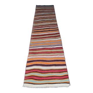 Turkish Handmade Kilim Rug - 2′6″ × 12′10″