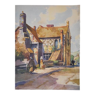 Vintage England View Lithograph