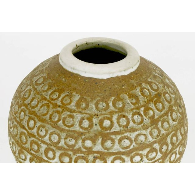 Relief Patterned Earthen Pottery Vase by Tomiya Matsuda - Image 4 of 7