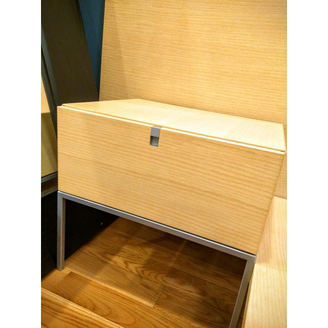 custom platform king bed with light nightstand chairish. Black Bedroom Furniture Sets. Home Design Ideas