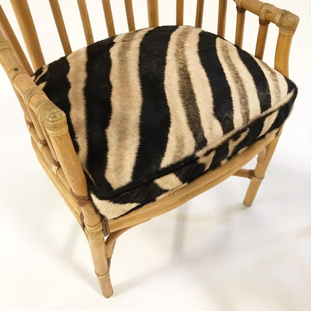 Forsyth Rattan Armchairs with Custom Zebra Hide Cushions - A Pair - Image 4 of 7