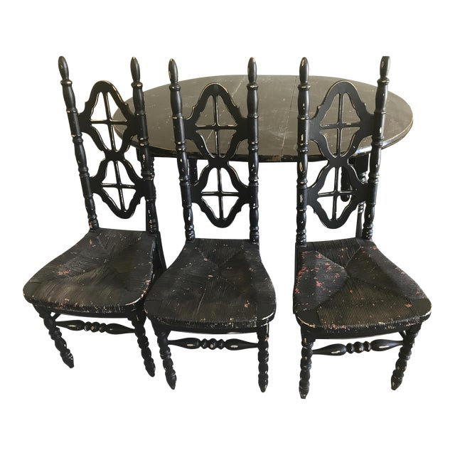 Shabby Chic Kitchen Table: Black Shabby Chic Kitchen Table With Chairs