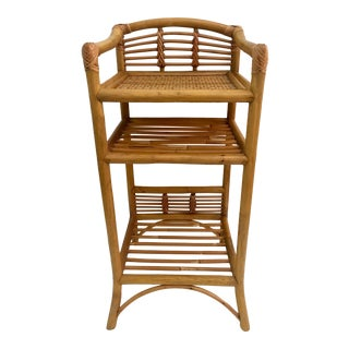 Vintage Rattan & Bamboo Etagere