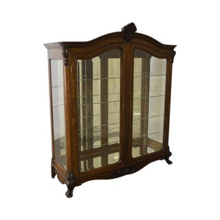 Antique 19th Century Oak Rococo Style China Crystal Cabinet