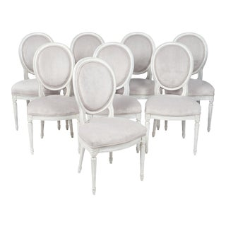 Antique Louis XVI Style French Medallion Back Chairs - Set of 8