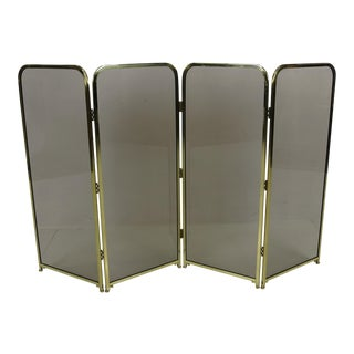 Four Panel Brass & Smoked Glass Fire Screen-England