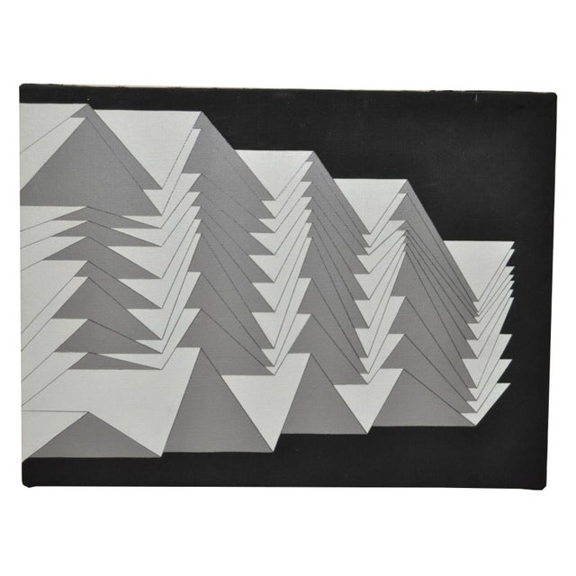1988 Charles Hersey Vintage Geometric Painting - Image 2 of 5