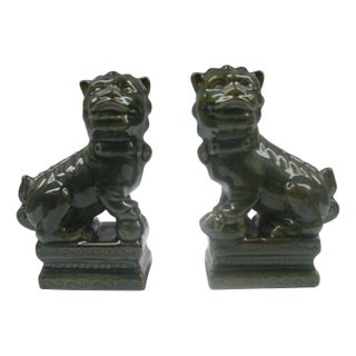 Green Glazed Ceramic Foo Dogs - A Pair