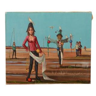 L'epouvantail Signed Original Painting by J.P. Serrier