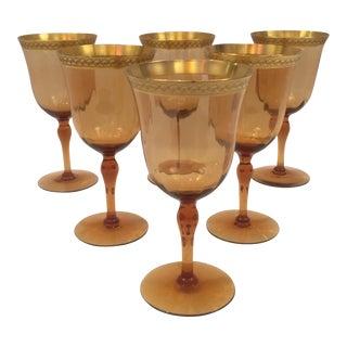 Venetian Amber Art Glass Gilt Wine Goblets - Set of 6