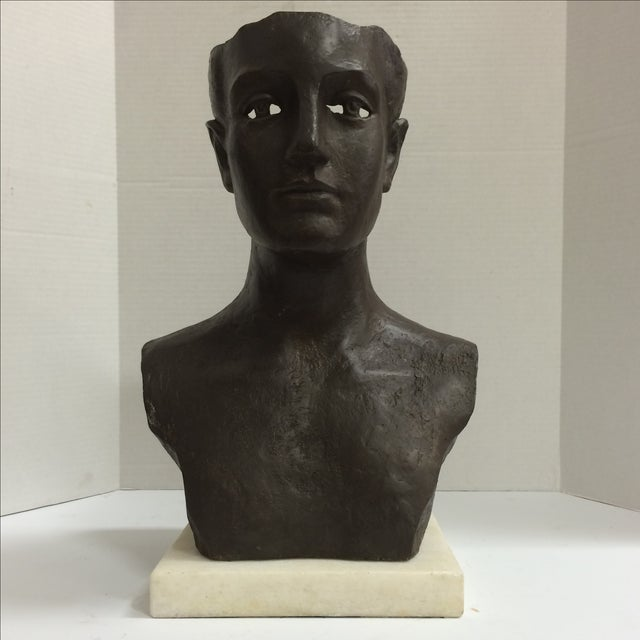 Modernist Male Bust Bronze Sculpture - Image 2 of 11