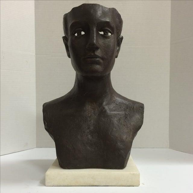 Image of Modernist Male Bust Bronze Sculpture