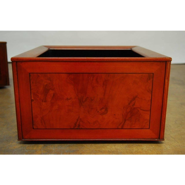 Italian Planters With Burl Wood Insets - A Pair - Image 2 of 5