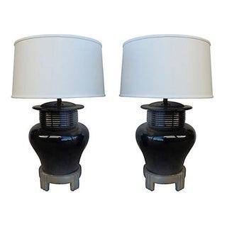 Asian Style Mid-Century Ceramic Lamps - Pair