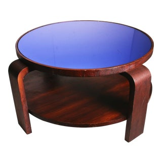 Art Deco Bentwood Mahogany Cocktail Table with Blue Mirrored Glass Top