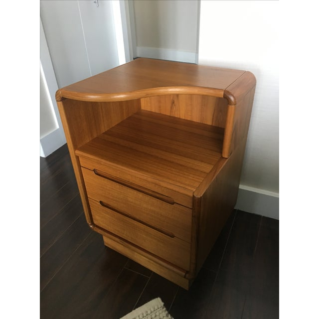 Contemporary Teak Nightstands - A Pair - Image 4 of 8