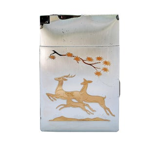 Two-Toned Metal Deer Vintage Cigarette Case