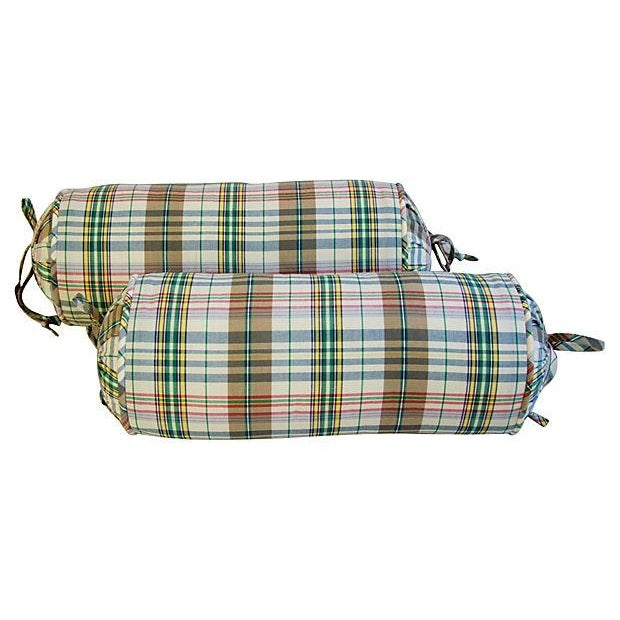 Custom Ralph Lauren Madras Bolster Pillows - Pair - Image 3 of 6