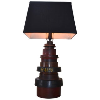 Antique Industrial Stacked Wood Table Lamp