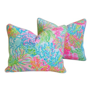 Summer Sale!!! Lilly Pulitzer-Inspired/Style Beach & Ocean Floral Pillows - Pair
