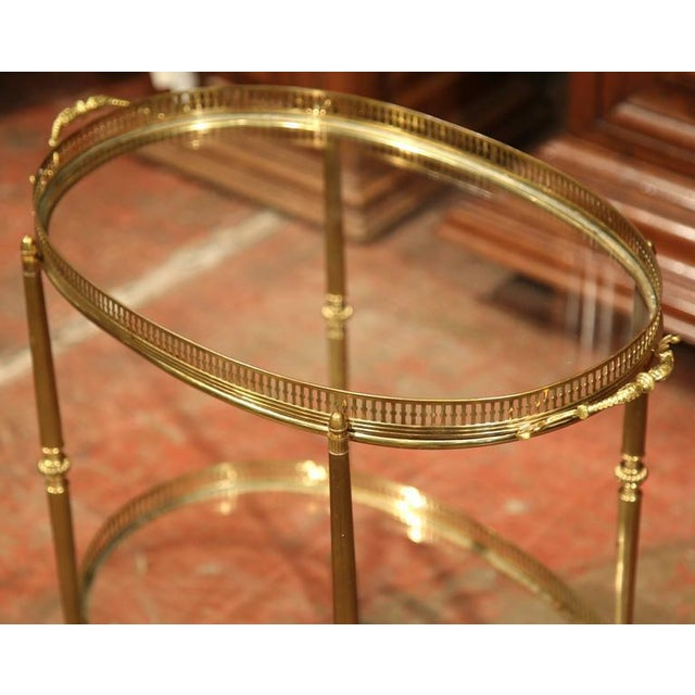 French Oval Brass Bar Cart on Wheels - Image 3 of 8