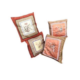 Asian Silk Embroidered Pillows - Set of 4
