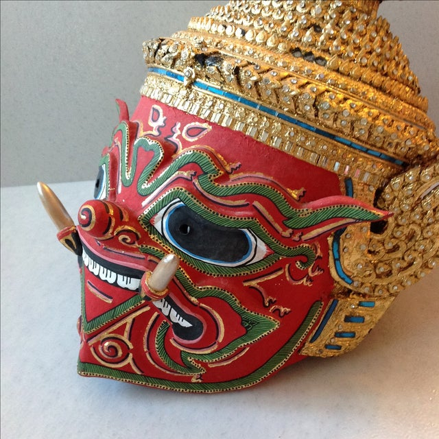 Antique Thai Demon Khon Mask - Image 7 of 11