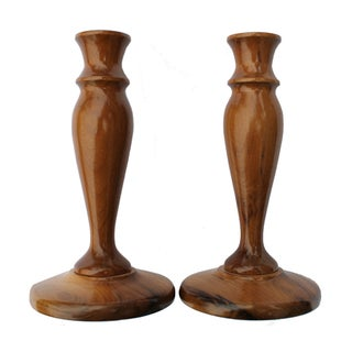 Myrtlewood Candlesticks - A Pair