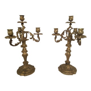 Antique Louis XIV Fire-Gilded Bronze Candelabras - A Pair