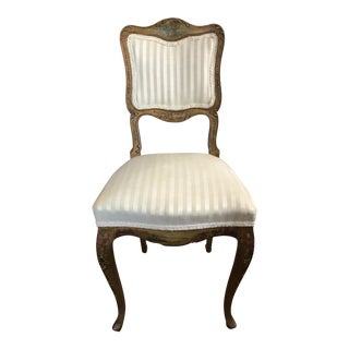 Antique French Hand Painted Gilt Chair