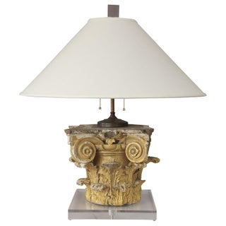 LAMP FASHIONED FROM A CARVED CAPITAL