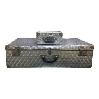 Mid-Century Industrial Look, Aluminum Suitcases - a Pair